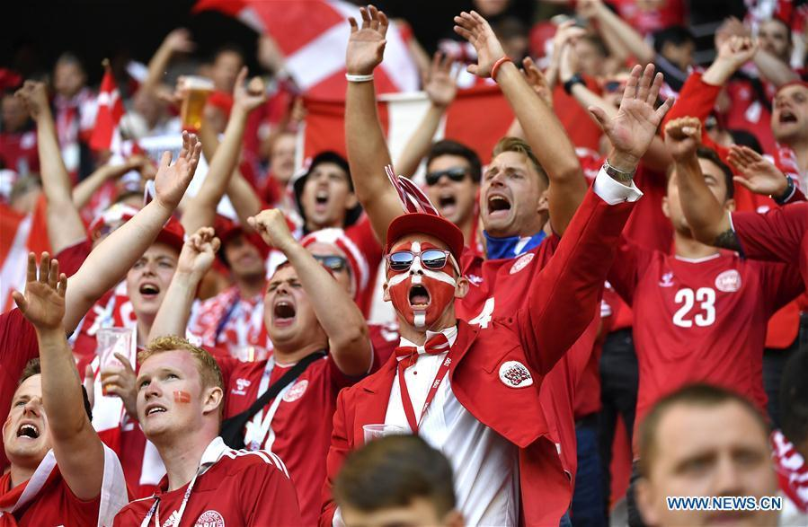 Fans of Denmark cheer for their team before a group C match between Peru and Denmark at the 2018 FIFA World Cup in Saransk, Russia, June 16, 2018. (Xinhua/He Canling)