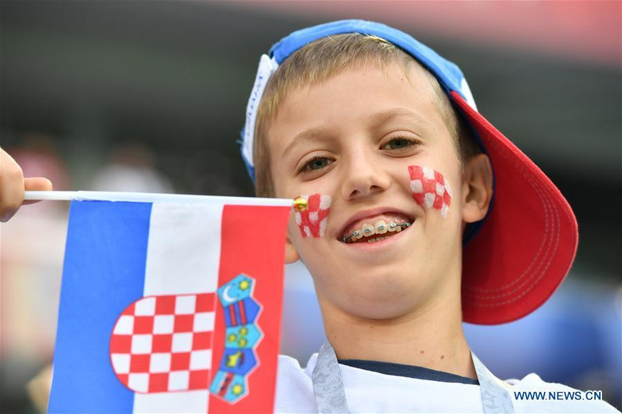 A fan of Croatia is seen prior to a group D match between Croatia and Nigeria at the 2018 FIFA World Cup in Kaliningrad, Russia, June 16, 2018. (Xinhua/Liu Dawei)