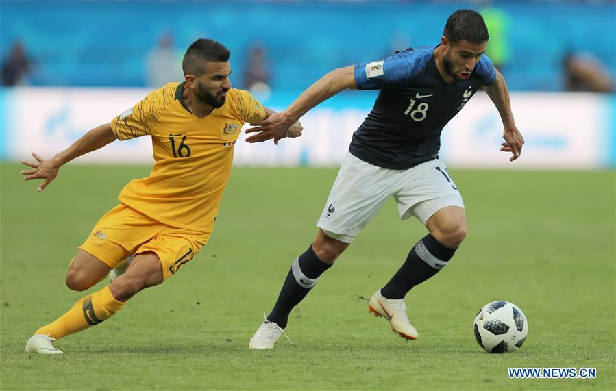 Nabil Fekir (R) of France vies with Aziz Behich of Australia during a group C match between France and Australia at the 2018 FIFA World Cup in Kazan, Russia, June 16, 2018. France won 2-1. (Xinhua/Yang Lei)