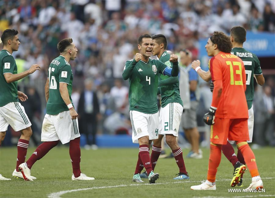 Mexico\'s Rafael Marquez (C) celebrates victory with teammates after a group F match between Germany and Mexico at the 2018 FIFA World Cup in Moscow, Russia, June 17, 2018. Mexico won 1-0. (Xinhua/Cao Can)