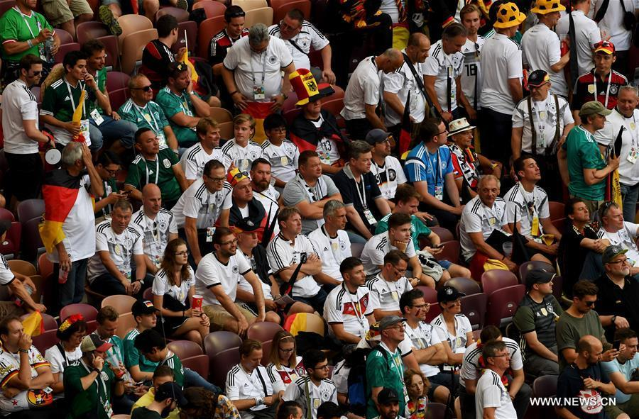 Fans of Germany react after a group F match between Germany and Mexico at the 2018 FIFA World Cup in Moscow, Russia, June 17, 2018. Mexico won 1-0. (Xinhua/Wang Yuguo)