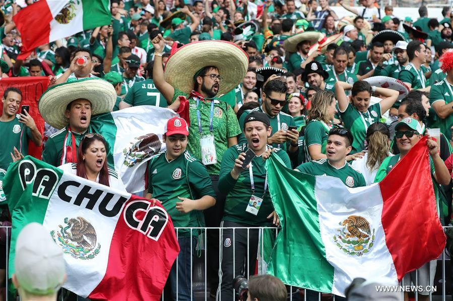 Fans of Mexico celebrate victory after a group F match between Germany and Mexico at the 2018 FIFA World Cup in Moscow, Russia, June 17, 2018. Mexico won 1-0. (Xinhua/Xu Zijian)