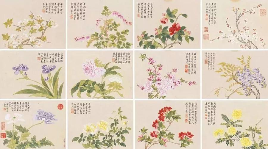 12 flowers painted by Qian Weicheng. (Photo provided to China Daily)