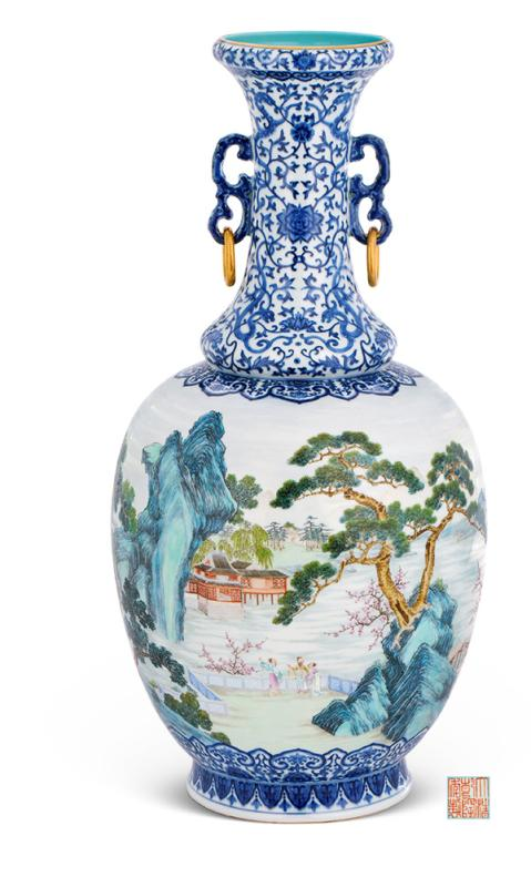 The blue-and-white vase with a painting of the utopia world from a fable, 12 kinds of flowers painted by Qian Weicheng and treasured by emperor Qianlong, and an enamel bowl made for emperor Yongzheng, are among the lots of China Guardian\'s spring auction. (Photo provided to China Daily)