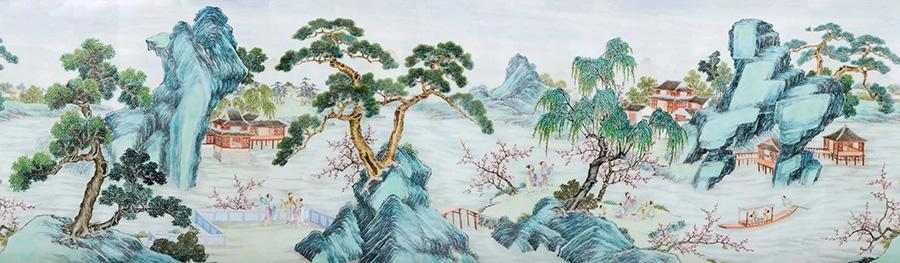 A painting in China Guardian\'s spring sale, produced by Qianlong, depicts a vase with lotus flowers and a pot of daisies. (Photo provided to China Daily)