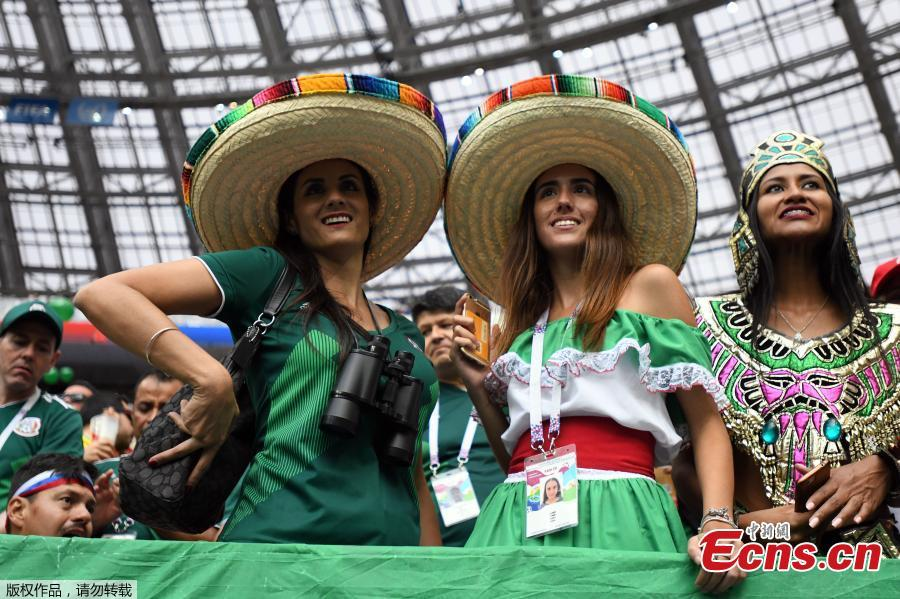 Fans during the match between Germany and Mexico in Luzhniki Stadium, Moscow, Russia, June 17, 2018. (Photo: China News Service/Tian Bochuan)