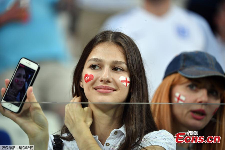 A fan during the match between Tunisia and England in Volgograd Arena, Volgograd, Russia, June 18, 2018. (Photo: China News Service/Mao Jianjun)