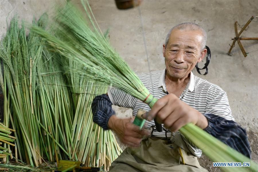 A man makes a broom at a broom professional cooperative in Maozhuang Town of Laoting County, north China\'s Hebei Province, June 19, 2018. Maozhuang Town has a long history in handmade brooms. In recent years, the town has set up several professional cooperatives on broom to manage this specialty industry intensively. At present, brooms produced in the town have been sold to many foreign markets such as South Korea and Japan, with annual export earnings reaching over 20 million yuan (3.09 mln U.S. dollars). (Xinhua/Mu Yu)