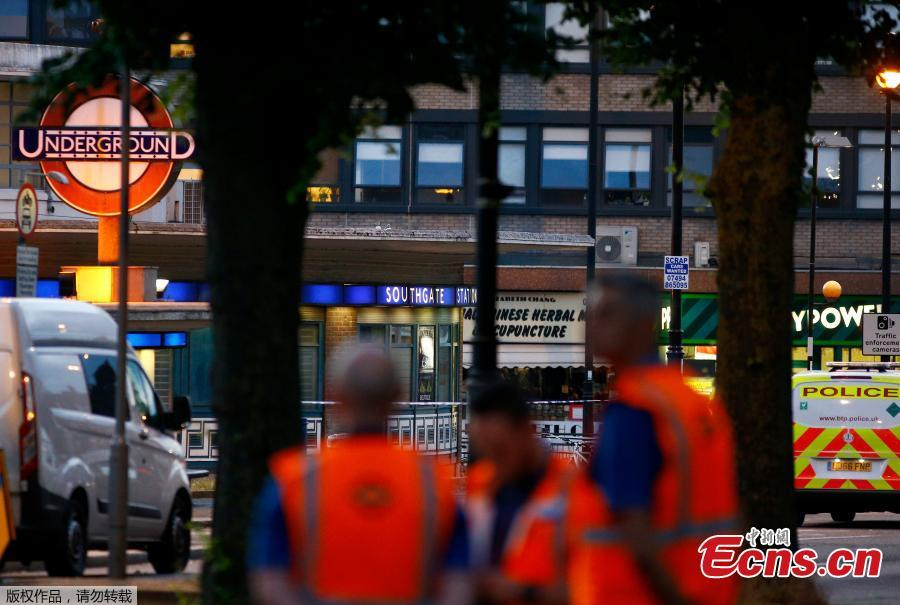 London Transport staff stand at the scene after several people were injured after a small explosion at Southgate Underground station in north London, Britain June 19, 2018. Five people have been injured after an explosion at a London underground station, which officials said they believed was caused by a battery short circuit. (Photo/Agencies)