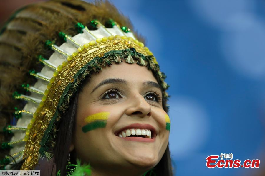 A fan during the match between Brazil and Switzerland in Rostov Arena, Rostov-on-Don, Russia, June 17, 2018. (Photo/Agencies)