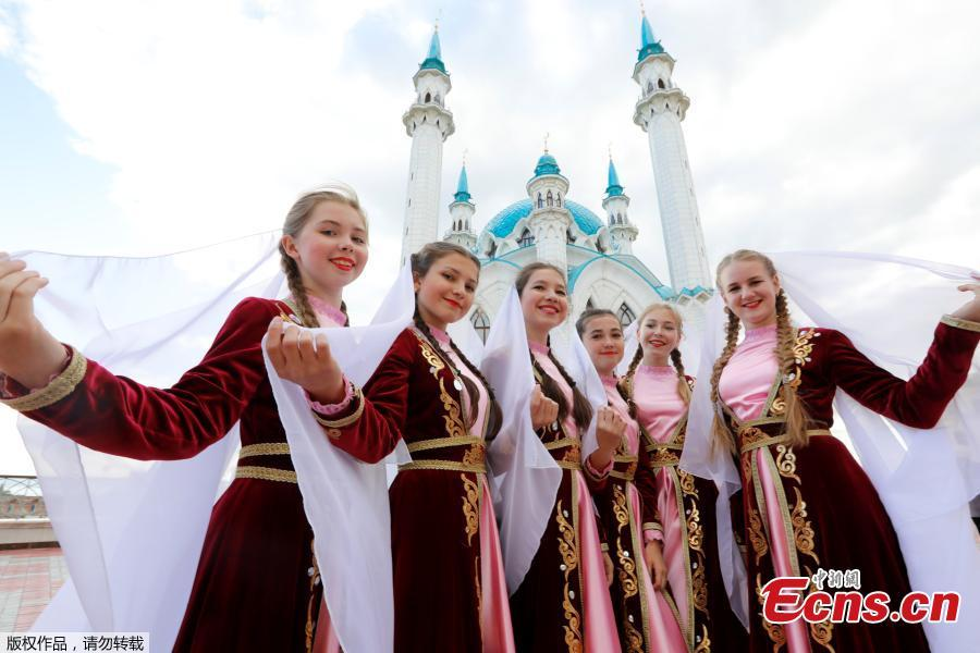 Russian children attend a cultural event at the Kremlin historic citadel of Tatarstan on Kazan, Russia, June 15, 2018. (Photo/Agencies)