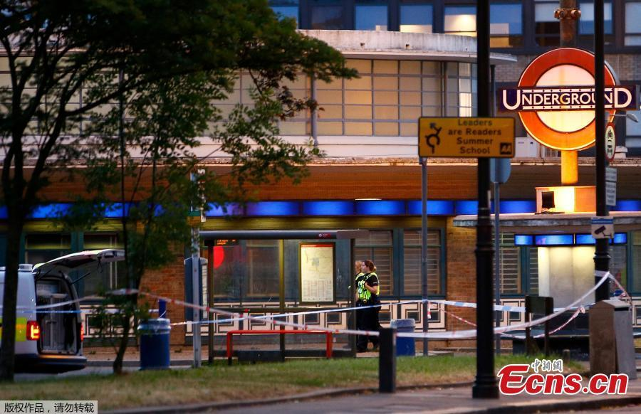Police stand at the scene after several people were injured after a small explosion at Southgate Underground station in north London, Britain June 19, 2018. Five people have been injured after an explosion at a London underground station, which officials said they believed was caused by a battery short circuit. (Photo/Agencies)