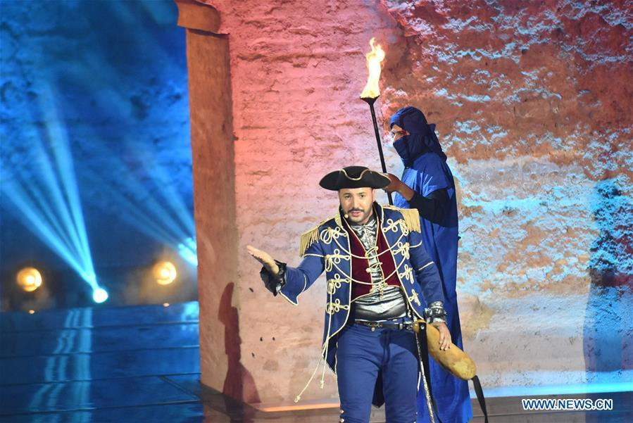 A Moroccan comedian performs during the opening of Marrakesh Laughter Festival in Marrakech, Morocco, on June 20, 2018. The annual international humor festival kicked off here on Wednesday. (Xinhua/Aissa)