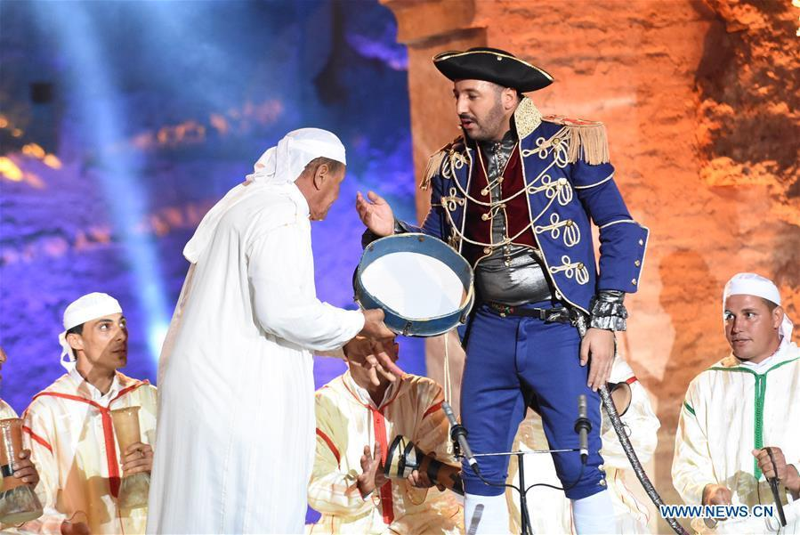 Moroccan comedians perform during the opening of Marrakesh Laughter Festival in Marrakech, Morocco, on June 20, 2018. The annual international humor festival kicked off here on Wednesday. (Xinhua/Aissa)