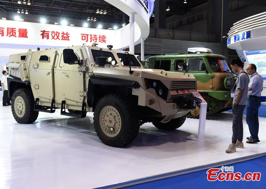 A vehicle on display at the 9th International Military and Civilian Dual-use Technology Exhibition in Chongqing, June 21, 2018. (Photo: China News Service/Zhou Yi)
