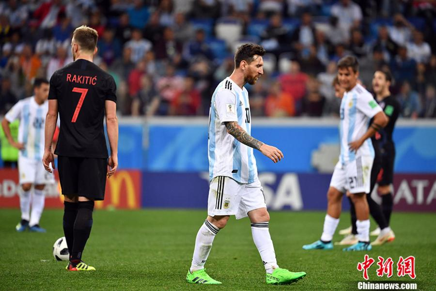 A match between Argentina and Croatia in a Group D match of the World Cup in Nizhny Novgorod, Russia, June 21, 2018. Croatia won 3-0. (Photo: China News Service/Mao Jianjun)