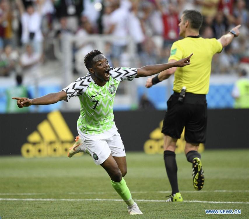 Ahmed Musa (L) of Nigeria celebrates his scoring during the 2018 FIFA World Cup Group D match between Nigeria and Iceland in Volgograd, Russia, June 22, 2018. Nigeria won 2-0. (Xinhua/Lui Siu Wai)
