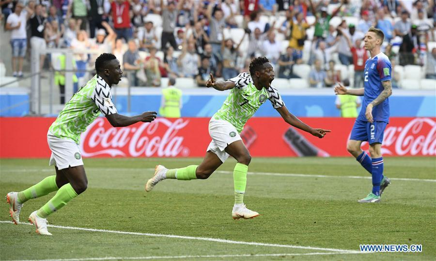 Ahmed Musa (C) of Nigeria celebrates his scoring during the 2018 FIFA World Cup Group D match between Nigeria and Iceland in Volgograd, Russia, June 22, 2018. (Xinhua/Lui Siu Wai)