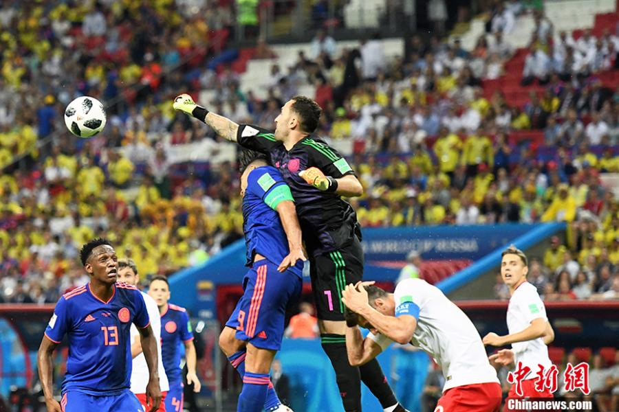 A match between Argentina and Colombia in a Group H match of the World Cup in Kazan, Russia, June 24, 2018. Poland have lost any chance to qualify for the knockout phase of World Cup after falling to Colombia 3-0 in their second Group H match in the Kazan Arena on Sunday.(Photo: China News Service/Tian Bochuan)