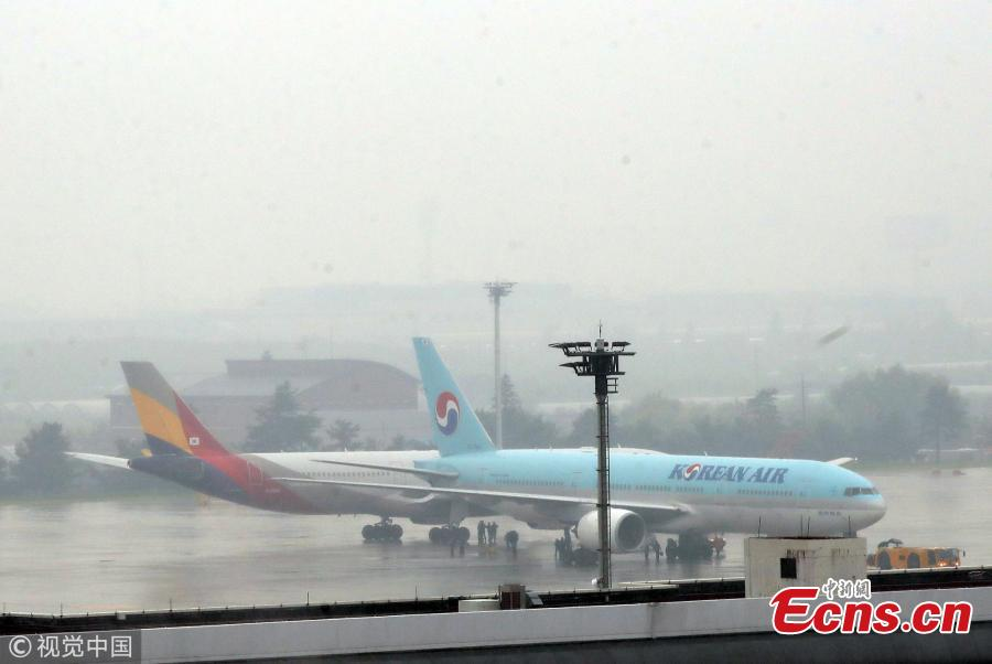 Two airplanes collide at an airport in Gimpo in western Seoul, causing damage to part of the jets, Juen 26, 2018. A passenger jet of the Korean Air, a flagship South Korean air carrier, hit its rear against a wing of the Asiana Airlines airliner. However, there has been no casualty. (Photo/VCG)