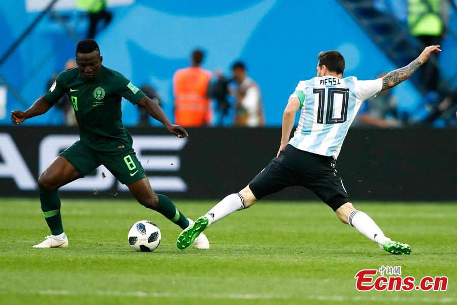 Argentina\'s Lionel Messi in action during the World Cup match between Nigeria and Argentina in Saint Petersburg Stadium, Saint Petersburg, Russia, June 26, 2018. (Photo: China News Service/Fu Tian)