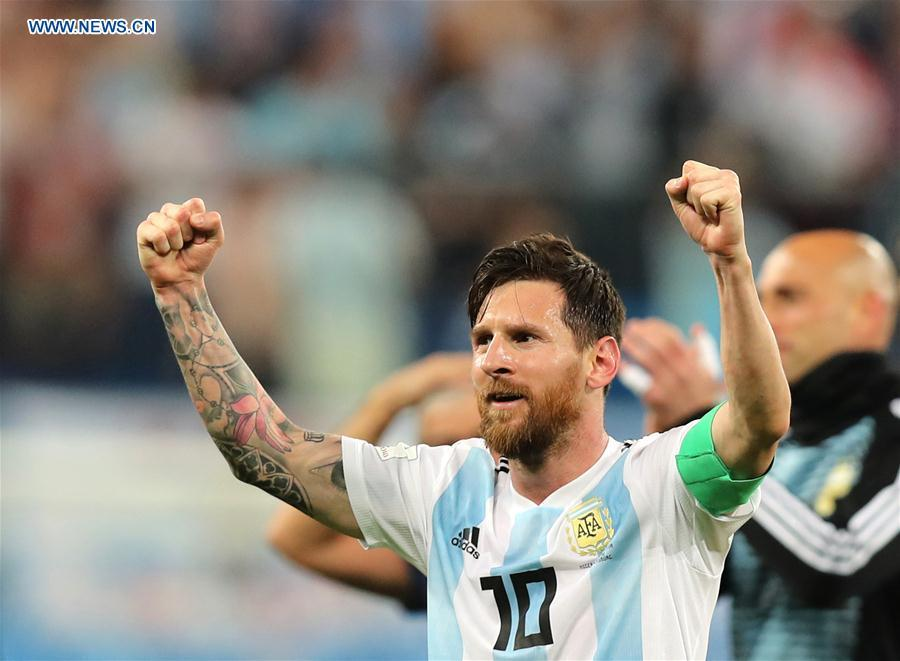 Lionel Messi of Argentina celebrates victory after the 2018 FIFA World Cup Group D match between Nigeria and Argentina in Saint Petersburg, Russia, June 26, 2018. Argentina won 2-1 and advanced to the round of 16. (Xinhua/Yang Lei)