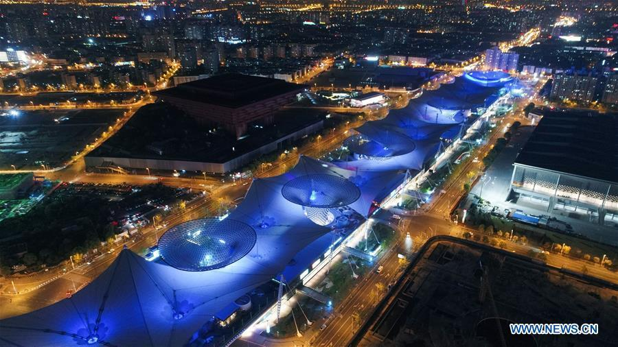 Aerial photo taken on April 14, 2017 shows China Art Museum in Pudong of Shanghai, east China. China announced the opening-up and development of Pudong in 1990. Pudong is expecting to take the opportunity of celebrating the 40th anniversary of China\'s reform and opening-up to continue to spearhead the country\'s reform and development. (Xinhua/Ding Ting)