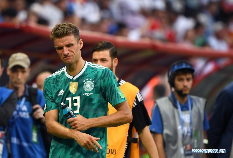 Thomas Mueller (front) of Germany reacts after the 2018 FIFA World Cup Group F match between Germany and South Korea in Kazan, Russia, June 27, 2018. South Korea won 2-0. (Xinhua/Li Ga)