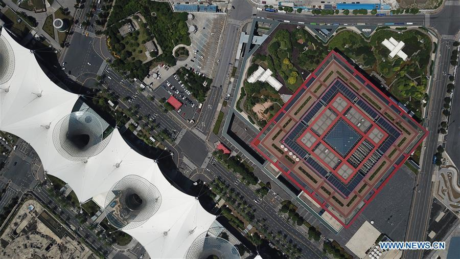 Aerial photo taken on June 21, 2018 shows China Art Museum in Pudong of Shanghai, east China. China announced the opening-up and development of Pudong in 1990. Pudong is expecting to take the opportunity of celebrating the 40th anniversary of China\'s reform and opening-up to continue to spearhead the country\'s reform and development. (Xinhua/Fang Zhe)