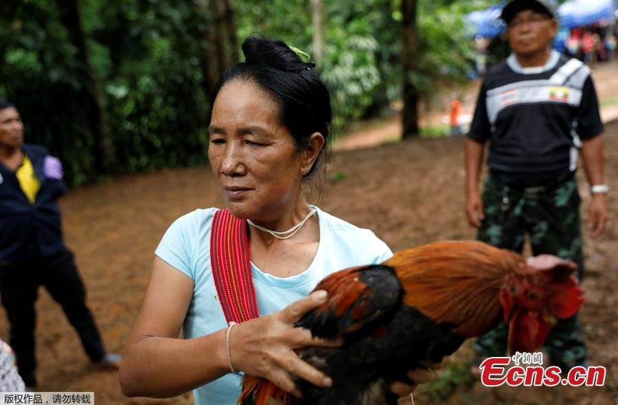 A woman carries a chicken to release as people pray near the Tham Luang caves during a search for members of an under-16 soccer team and their coach, in the northern province of Chiang Rai, Thailand, June 27, 2018. Twelve boys, aged 11 to 16, and their 25-year-old coach, were trapped on Saturday after heavy rain flooded the cave complex in a forest park in the northern province of Chiang Rai. (Photo/Agencies)