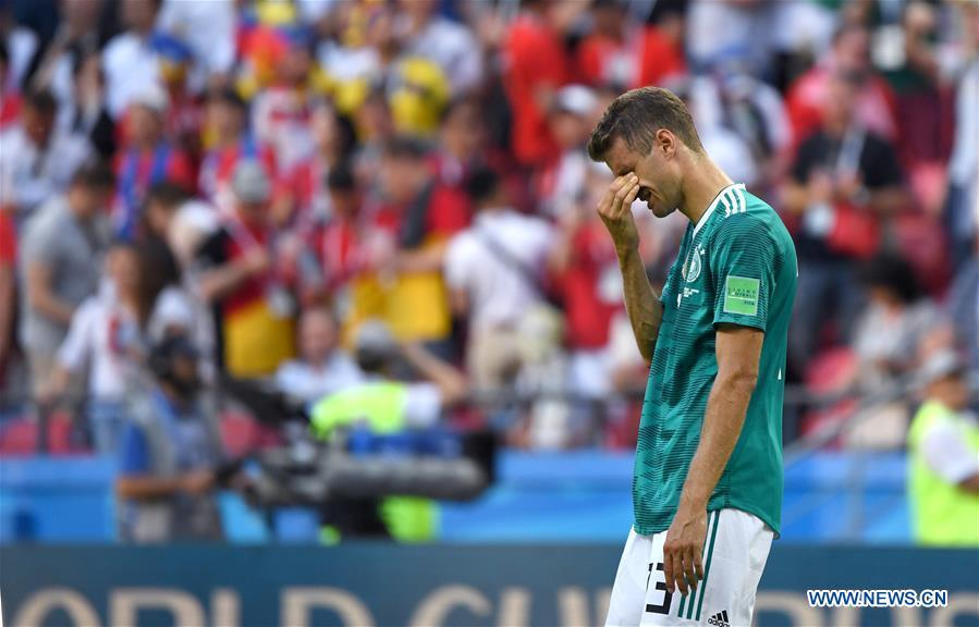 Thomas Mueller of Germany cries after the 2018 FIFA World Cup Group F match between Germany and South Korea in Kazan, Russia, June 27, 2018. South Korea won 2-0. (Xinhua/Li Ga)
