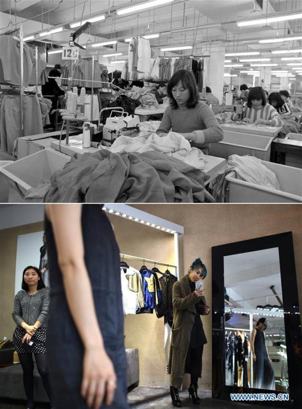 The upper part (file) of this combo photo taken by Duan Wenhua shows employees working at a clothing factory in Shenzhen, south China\'s Guangdong Province. The lower part of the combo photo taken by Mao Siqian on March 28, 2015 shows fashion designer Lu Yu (R) at her studio in Shenzhen. This year marks the 40th anniversary of China\'s reform and opening-up policy. Over the past four decades, Shenzhen has developed from a small fishing village to a metropolis. (Xinhua)