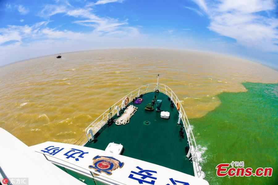 Muddy and clear waters converge in the Yellow River estuary in Dongying City, East China's Shandong Province, June 24, 2018. (Photo/IC)