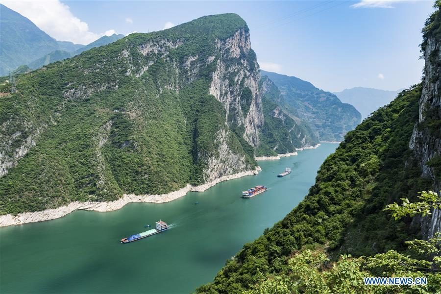 Vessels sail in Bingshubaojian gorge in Zigui County on the Three Gorges Reservoir Region in central China\'s Hubei Province, April 21, 2018. Comprehensive progress has been made since the report delivered at the 18th National Congress of the Communist Party of China (CPC) in 2012 included ecological development as a major task in the country\'s overall plan and proposed building a \