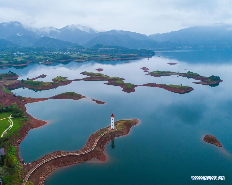 Aerial photo taken on Sept. 23, 2017 shows the scenery of the Qiandao Lake in Chun\'an County, east China\'s Zhejiang Province. Comprehensive progress has been made since the report delivered at the 18th National Congress of the Communist Party of China (CPC) in 2012 included ecological development as a major task in the country\'s overall plan and proposed building a \