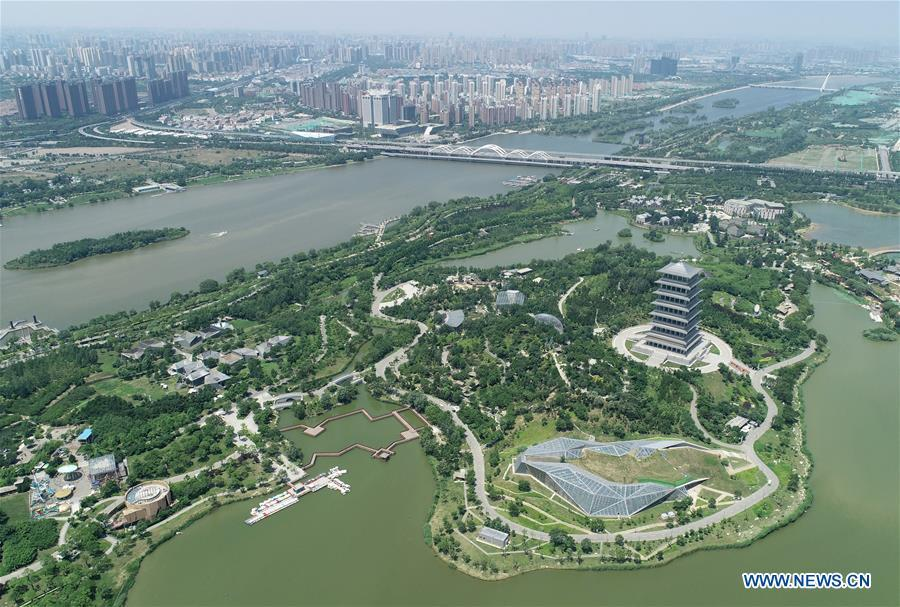 Photo taken on June 21, 2018 shows the Xi\'an Expo Park located within the Chanba Ecological District in Xi\'an, northwest China\'s Shaanxi Province. Comprehensive progress has been made since the report delivered at the 18th National Congress of the Communist Party of China (CPC) in 2012 included ecological development as a major task in the country\'s overall plan and proposed building a \
