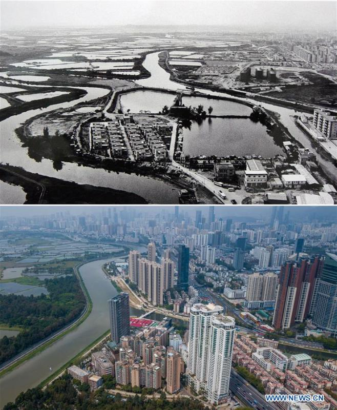 The upper part (file) of this combo photo shows the Yumin village in the 1980s in Shenzhen, south China\'s Guangdong Province. The lower part of the combo photo taken by Mao Siqian on March 26, 2018 shows a new look of the village. This year marks the 40th anniversary of China\'s reform and opening-up policy. Over the past four decades, Shenzhen has developed from a small fishing village to a metropolis. (Xinhua)