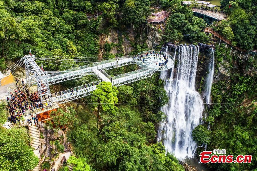 An aerial view of a glass viewing platform along a cliff at the Gulongxia scenic spot in Qingyuan City, South China\'s Guangdong province, June 28, 2018. The structure also features a massive circular glass observation deck suspended at the end of the bridge, jutting out 72 meters from the cliff edge. (Photo: China News Service/Zeng Linghua)