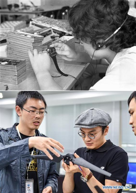 The upper part (file) of this combo photo taken by Li Changyong shows a worker producing an electronic watch at a factory in Shenzhen, south China\'s Guangdong Province. The lower part of the combo photo taken by Mao Siqian on May 22, 2015 shows founder of Da-Jiang Innovations (DJI) Wang Tao (C) discussing with research staff in Shenzhen. This year marks the 40th anniversary of China\'s reform and opening-up policy. Over the past four decades, Shenzhen has developed from a small fishing village to a metropolis. (Xinhua)