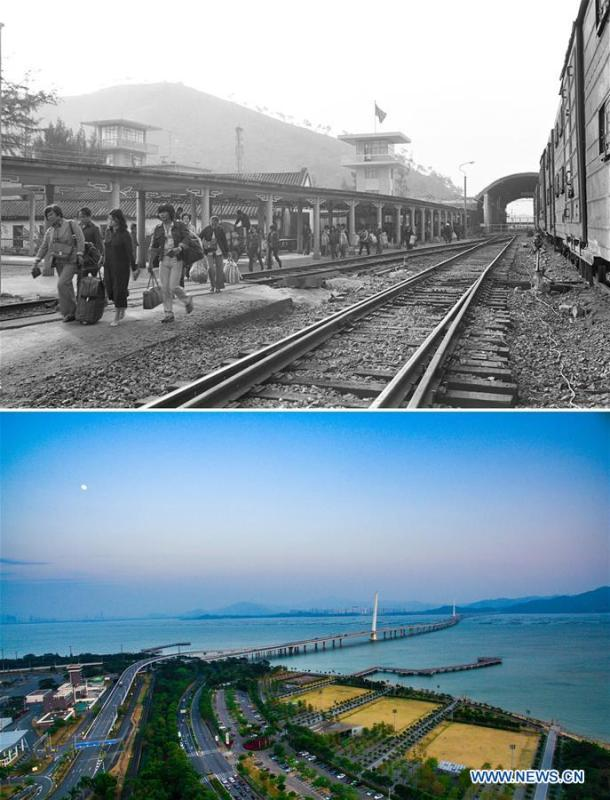 The upper part (file) of this combo photo taken by Li Changyong shows passengers at a port linking Shenzhen and Hong Kong, south China. The lower part of the combo photo taken by Mao Siqian on Feb. 9, 2017 shows a cross-sea bridge of Shenzhen Bay. This year marks the 40th anniversary of China\'s reform and opening-up policy. Over the past four decades, Shenzhen has developed from a small fishing village to a metropolis. (Xinhua)