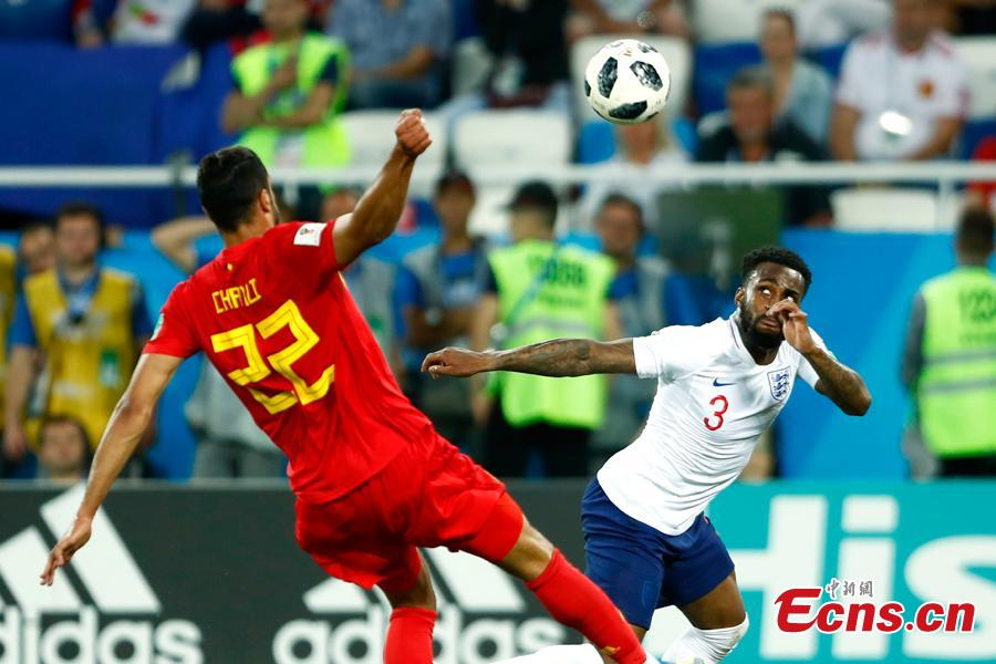 The World Cup match between England and Belgium is held in Kaliningrad Stadium, Kaliningrad, Russia, June 28, 2018. Belgium remained unbeaten in Russia World Cup as they defeated England and will face Japan in the knockout stage. Belgium\'s Adnan Januzaj scored the only goal. (Photo: China News Service/Fu Tian)
