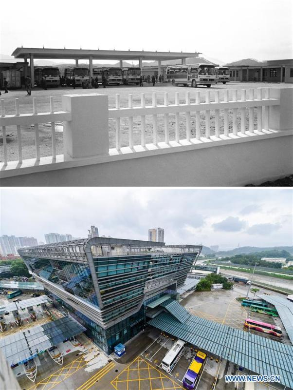 The upper part (file) of this combo photo taken by Chi Xingxu shows a parking lot of Wenjindu passenger port in Shenzhen, south China\'s Guangdong Province. The lower part of the combo photo taken by Mao Siqian on June 12, 2018 shows a passenger inspection building of Wenjindu port. This year marks the 40th anniversary of China\'s reform and opening-up policy. Over the past four decades, Shenzhen has developed from a small fishing village to a metropolis. (Xinhua)