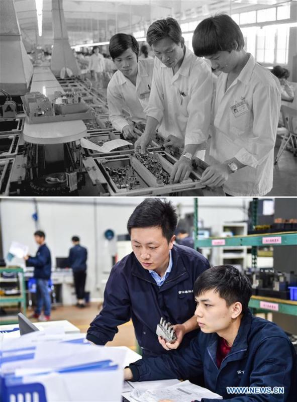 The upper part (file) of this combo photo taken by Li Changyong shows an electronic equipment factory in Shenzhen, south China\'s Guangdong Province. The lower part of the combo photo taken by Mao Siqian on Feb. 27, 2018 shows workers at a factory of Foxconn Technology Group in Shenzhen. This year marks the 40th anniversary of China\'s reform and opening-up policy. Over the past four decades, Shenzhen has developed from a small fishing village to a metropolis. (Xinhua)