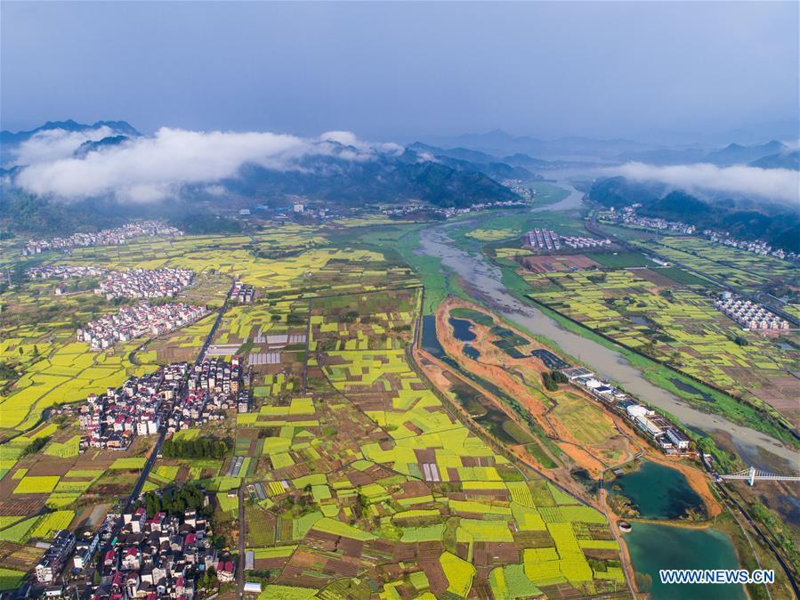 Aerial photo taken on April 3, 2018 shows a wetland park in Fenkou Town, Chun\'an County, east China\'s Zhejiang Province. Comprehensive progress has been made since the report delivered at the 18th National Congress of the Communist Party of China (CPC) in 2012 included ecological development as a major task in the country\'s overall plan and proposed building a \