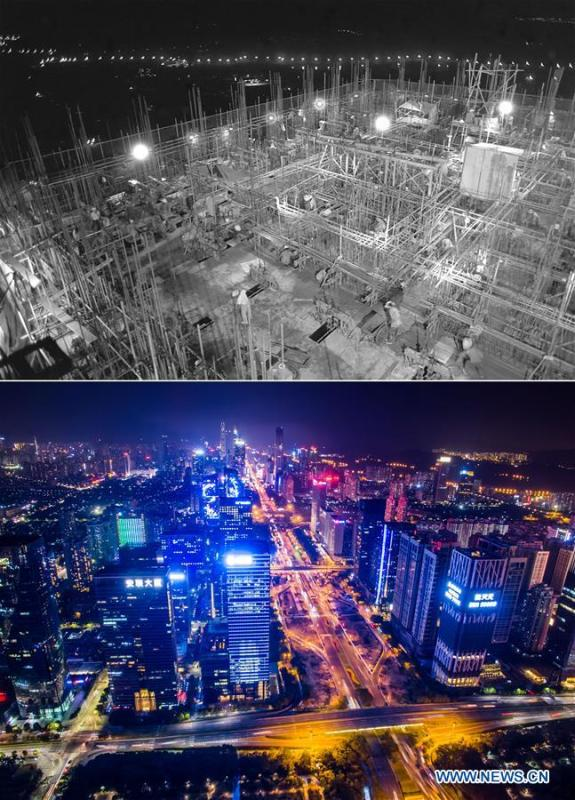 The upper part (file) of this combo photo taken by Chen Xuesi shows the construction site of an international trade center in Shenzhen, south China\'s Guangdong Province. The lower part of the combo photo taken by Mao Siqian on Feb. 14, 2017 shows a night view of Shenzhen. This year marks the 40th anniversary of China\'s reform and opening-up policy. Over the past four decades, Shenzhen has developed from a small fishing village to a metropolis. (Xinhua)