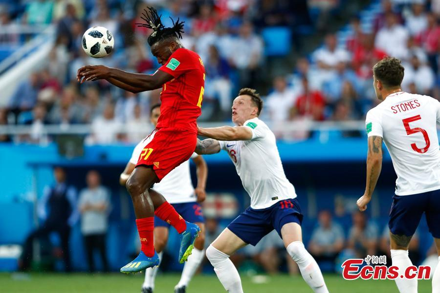 The World Cup match between England and Belgium in Kaliningrad Stadium, Kaliningrad, Russia, June 28, 2018. Belgium remained unbeaten in Russia World Cup as they defeated England and will face Japan in the knockout stage. Belgium\'s Adnan Januzaj scored the only goal. (Photo: China News Service/Fu Tian)
