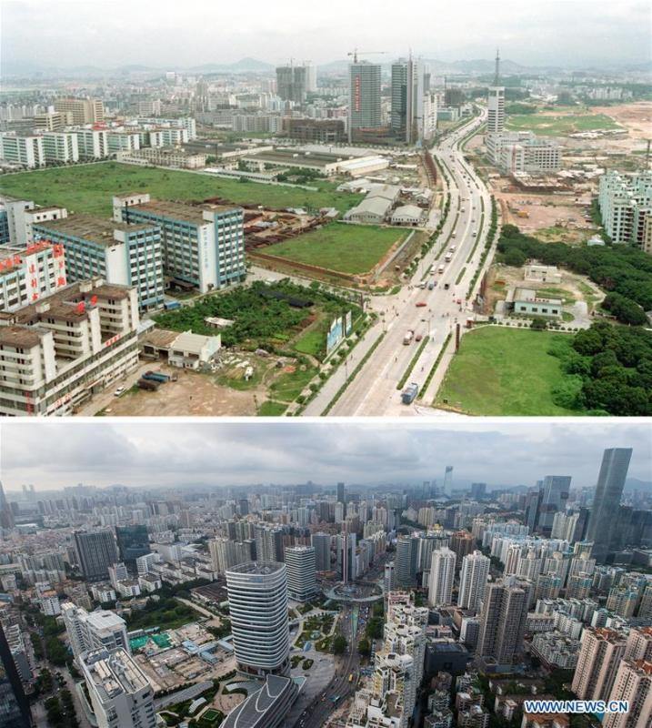 The upper part (file) of this combo photo taken by Zhang Yiwen shows Nanyou development zone in Shenzhen, south China\'s Guangdong Province. The lower part of the combo photo taken by Mao Siqian on June 20, 2018 shows a new look of the area. This year marks the 40th anniversary of China\'s reform and opening-up policy. Over the past four decades, Shenzhen has developed from a small fishing village to a metropolis. (Xinhua)