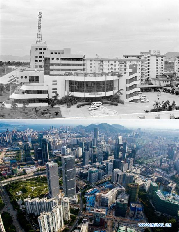 The upper part (file) of this combo photo taken by Huang Jianqiu shows a science park in Shenzhen, south China\'s Guangdong Province. The lower part of the combo photo taken by Mao Siqian on July 27, 2016 shows a science park zone in Shenzhen. This year marks the 40th anniversary of China\'s reform and opening-up policy. Over the past four decades, Shenzhen has developed from a small fishing village to a metropolis. (Xinhua)
