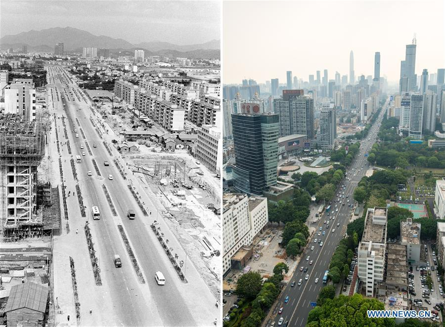 The left part (file) of this combo photo taken by Li Changyong shows Shennan Road in Shenzhen, south China\'s Guangdong Province. The right part of the combo photo taken by Mao Siqian shows the same road on May 23, 2018. This year marks the 40th anniversary of China\'s reform and opening-up policy. Over the past four decades, Shenzhen has developed from a small fishing village to a metropolis. (Xinhua)