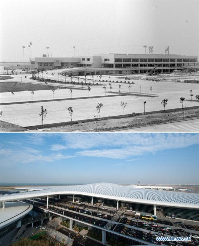 The upper part (file) of this combo photo taken by Pan Jiamin shows an old terminal of Shenzhen airport in south China\'s Guangdong Province. The lower part of the combo photo taken by Mao Siqian on Nov. 28, 2013 shows a new terminal of the airport in Shenzhen. This year marks the 40th anniversary of China\'s reform and opening-up policy. Over the past four decades, Shenzhen has developed from a small fishing village to a metropolis. (Xinhua)